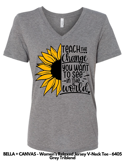 Teach the Change LADIES VNECK Tees