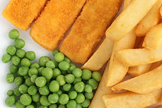 Fish fingers or fish sticks chips and pe