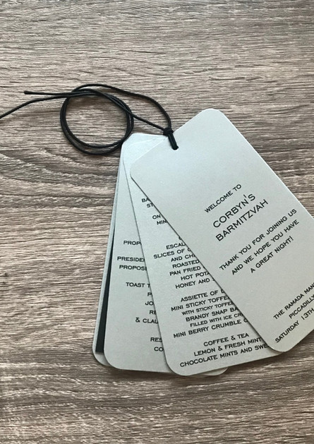 Escort and menu card, toast list and benscher in one