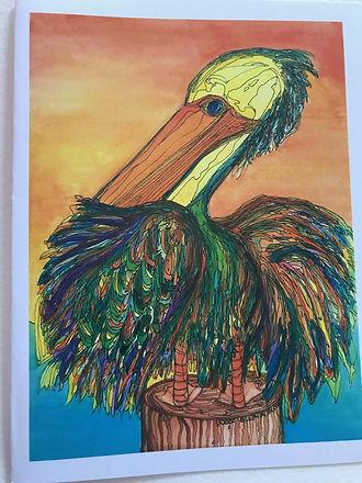 Gone Fish Inn Rainbow Pelican Watercolor