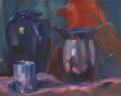 """""""Pewter pitcher with red""""   9x12"""