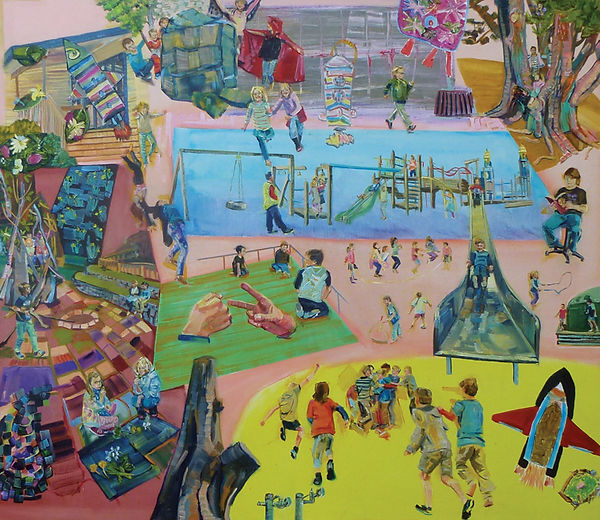 Laingholm Primary Lunchtime (above) 2015, oil on canvas, 1050mm x 900mm