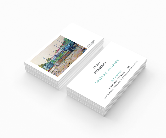 Freelance Graphic Designer NZ – Business Cards Jean Stewart NZ Artist