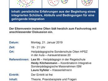 "VORSCHAU: Fachvortrag ""Integration in die Regelschule"" am 21. Januar 2019"