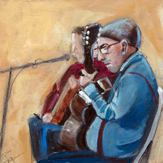 Guitar players Seville 8%22x8%22 oil on