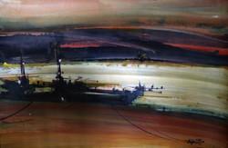 Boatscape (Size - 21X31 Inches) Watercolour on Paper