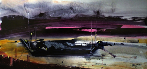 Boatscape (Size - 15X32 Inches) Watercolour on Paper