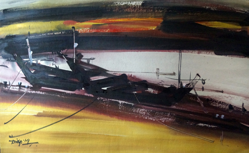 Boatscape (Size - 24X30 Inches) Watercolour on Paper