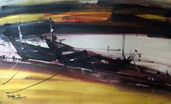 Boatscape (Size - 24X30 Inches) Watercolour on Paper