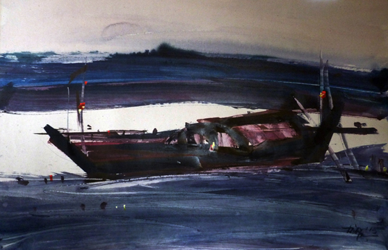 Boatscape (Size - 21X32 Inches) Watercolour on Paper