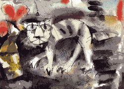 The Cat (Size-11.5X8.5 Inches) Water Color on Paper