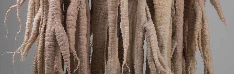 felt, wool, felted wool, nunofelt, felt dress, handmade, hand dyed, fiber art, tree, roots, bark dress