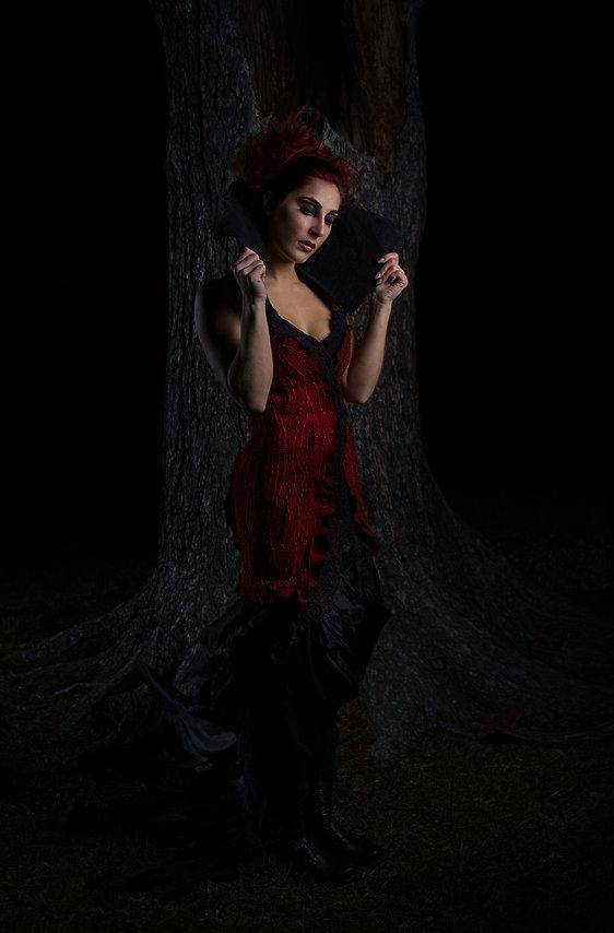 felt, wool, felted wool, nunofelt, felt dress, handmade, hand dyed, fiber art, black, red, red black dress, silk, silk dress, Lance Kenneth Blakney, wrath, sins, seven deadly sins, wrath dress