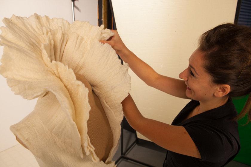 felt, wool, felted wool, nunofelt, felt dress, handmade, hand dyed, fiber artist at work, fiber art