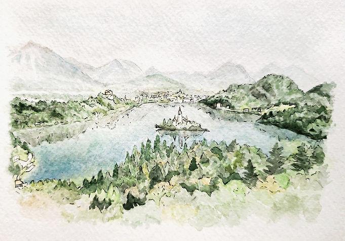 Alexandra Keely Bespoke Watercolour - Bled Lake, Slovenia