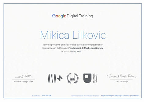chi siamo il certificato di Google Lilkovic Mikica