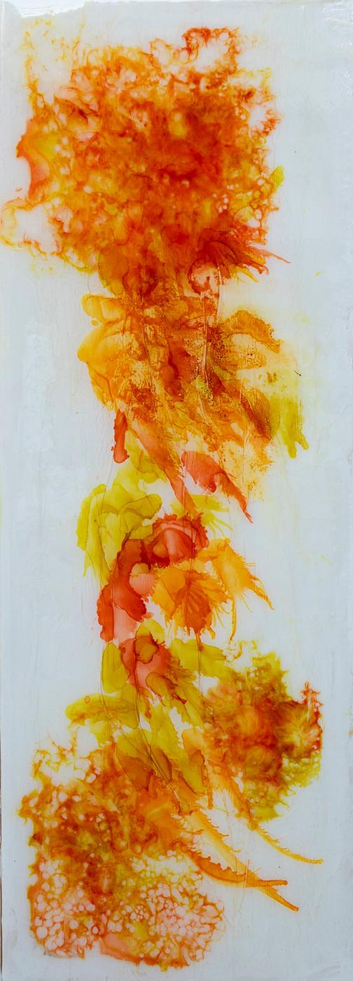 Jardins - mixed media on wood - 90 cm x 32 cm - 2020
