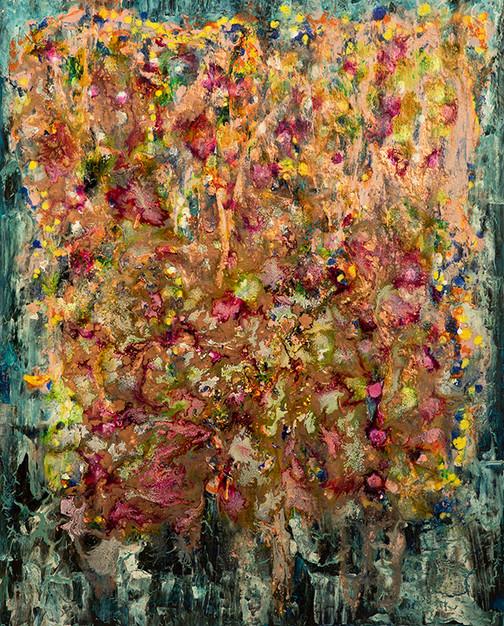 Gardens -  - mixed media on canvas - 100 cm x 81cm - 2019