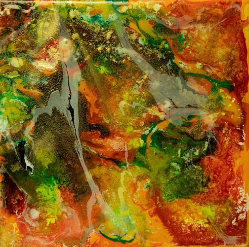 Transparencies - mixed media on canvas - 20 cm x 20 cm - 2019