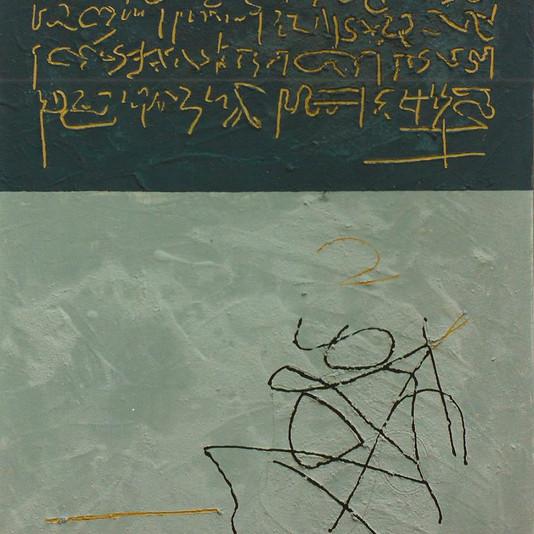 """""""Sinais do Espirito"""" - mixed media - 100x 81cm- 2000, private colection, Portugal"""