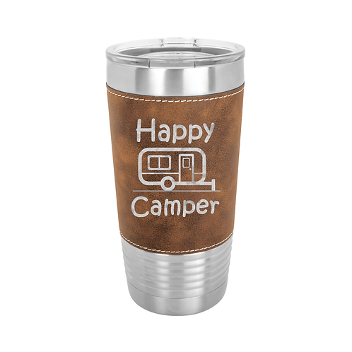20 oz. Leatherette - Happy Camper