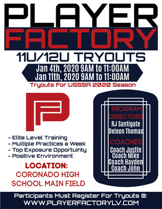 Player Factory 11U | 12U Tryout Flyer