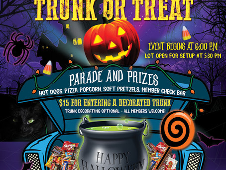 Trunk or Treat, Friday, October 29th - Register Today!