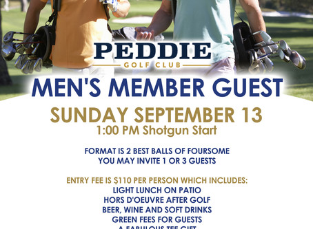 MEN'S MEMBER GUEST, SUNDAY SEPTEMBER 13th, 1:00 PM Shotgun Start!