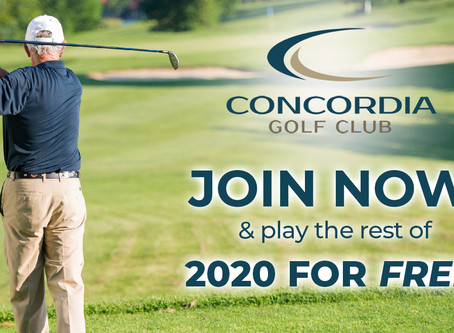 Join Concordia Golf Club NOW and Play the rest of 2020 For FREE
