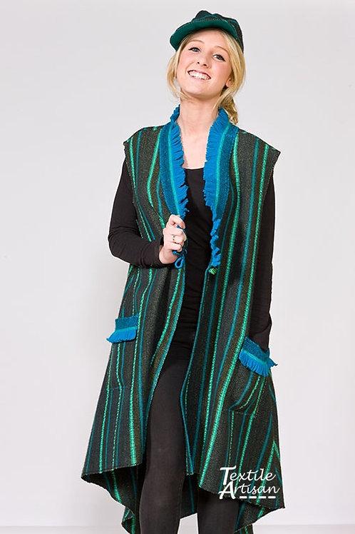 Blue Green Long Swingback Vest