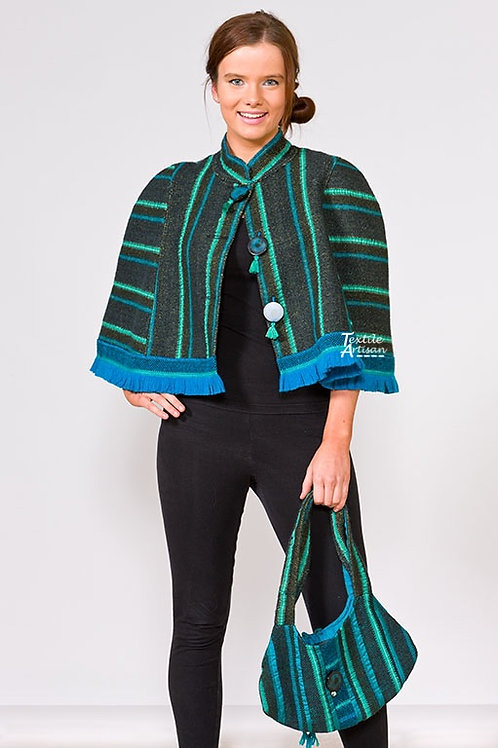 Blue Green Wool Cape