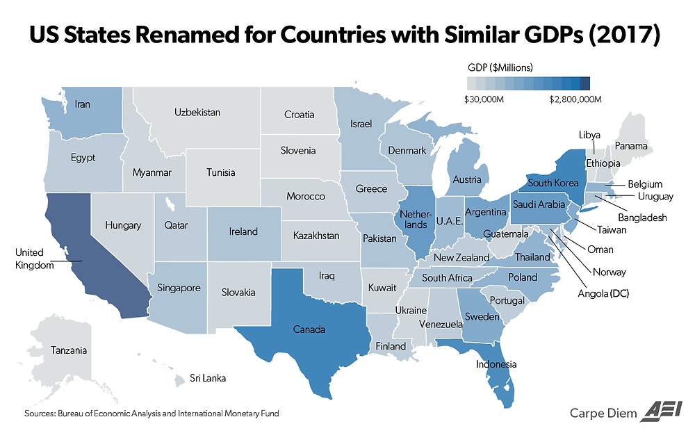 American Enterprise Institute's map of all 50 states' GDP's compared to other various countriesAmerican Enterprise Institute's map of all 50 states' GDP's compared to other various countries © American Enterprise Institute The American Enterprise Institute recently released an interesting map comparing every state in the United States' GDP to other various countries throughout the world (shown above). South Carolina is shown having a comparable GDP to the entire country of Portugal. In 2017, South Carolina had a GDP of $219.1 Billion (26th in the US), which was slightly higher than Portugal's GDP of $218.1 Billion.