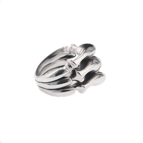 Gothic spine armour silver ring