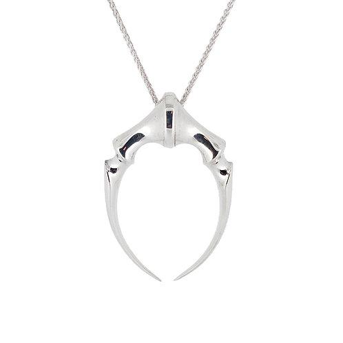 Contemporary gothic double fang silver pendant