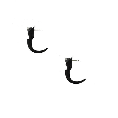 Eagle claw black nylon and silver thorn open hoop stud earrings