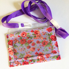 Red on lilac, with lanyard