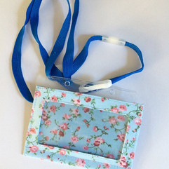 Pink on blue, with lanyard