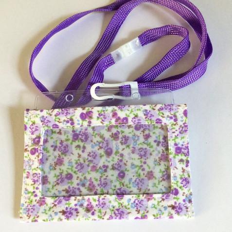 Purple on cream, with lanyard