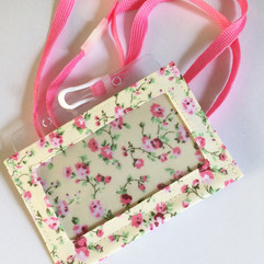 Pink on cream, with lanyard