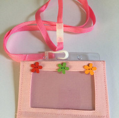 Pink, flower buttons, with lanyard