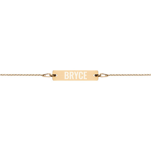 Bryce - Engraved Silver Bar Chain Bracelet