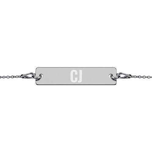CJ - Engraved Silver Bar Chain Bracelet