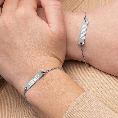 Corbin - Engraved Silver Bar Chain Bracelet