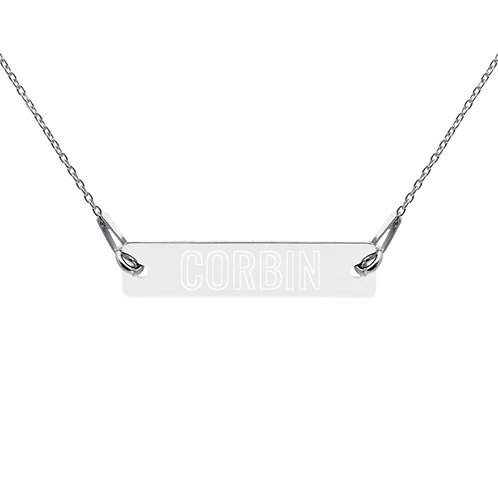 Corbin - Engraved Silver Bar Chain Necklace