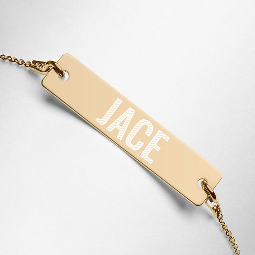 Jace - Engraved Silver Bar Chain Necklace