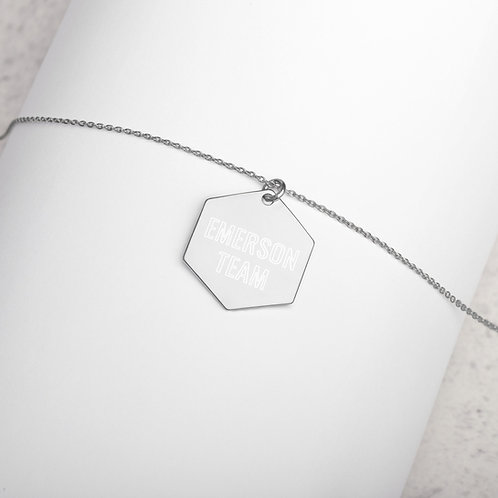 Emerson Team - Engraved Silver Hexagon Necklace