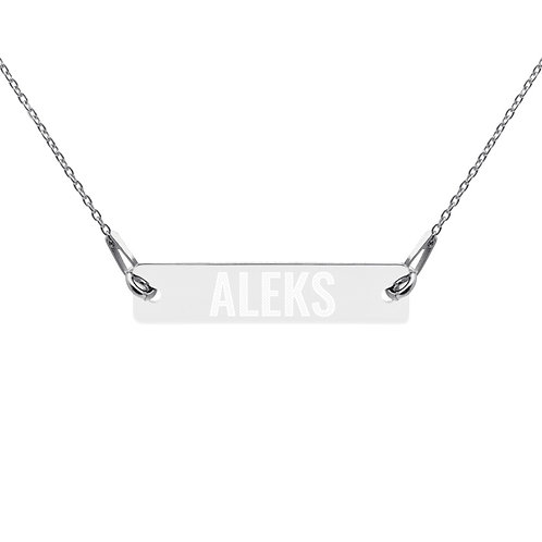 Aleks - Engraved Silver Bar Chain Necklace