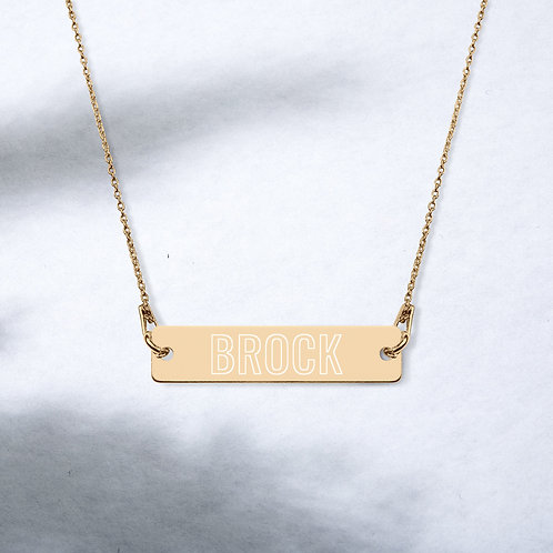 Brock - Engraved Silver Bar Chain Necklace