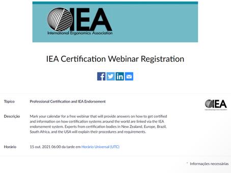 Webinar de Certificação IEA (gratuito) - 15/10/21 as 18:00