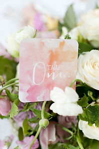 blush/coral water color table numbers
